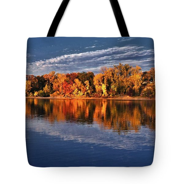 Fall on the Mississippi river Tote Bag by Todd and candice Dailey