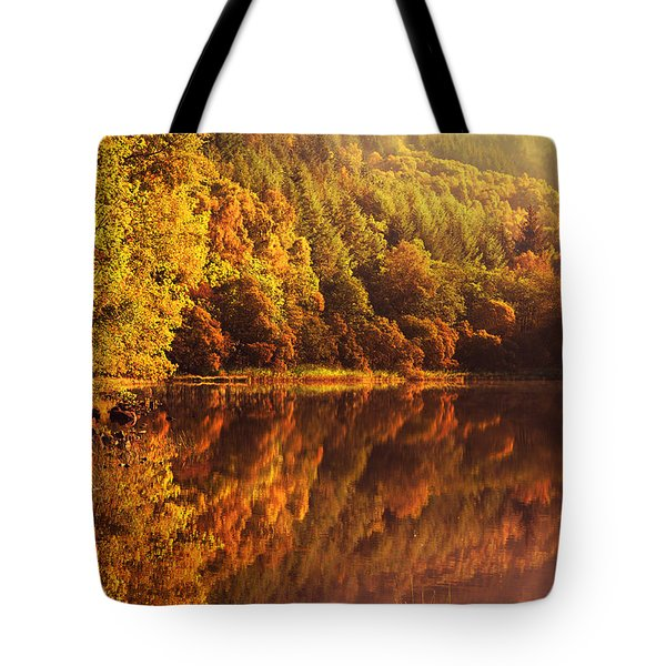 Fall Reflections. Loch Achray. Scotland Tote Bag by Jenny Rainbow