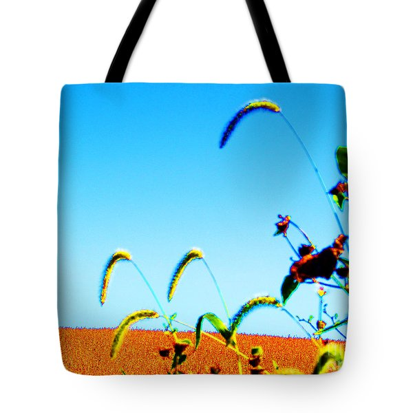 Fall Skies On Soybeans Farm Tote Bag by Tina M Wenger