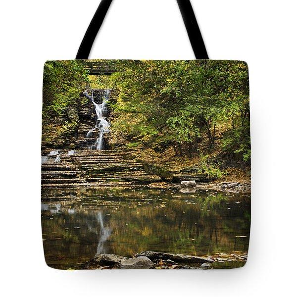 Fall Waterfall Creek Reflection Tote Bag by Christina Rollo