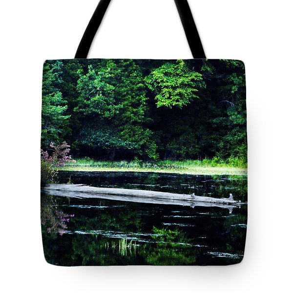 Fallen Log in a Lake Tote Bag by Bill Cannon
