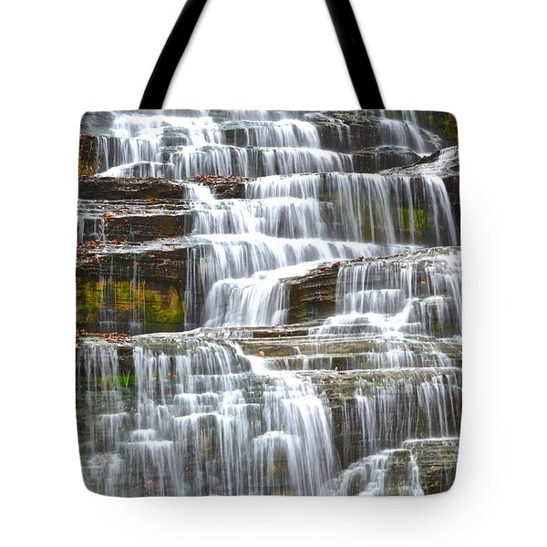 Falling Water Tote Bag by Frozen in Time Fine Art Photography