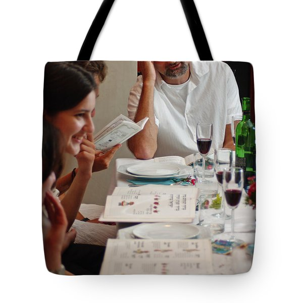 Family around the sedder table Tote Bag by Ilan Rosen