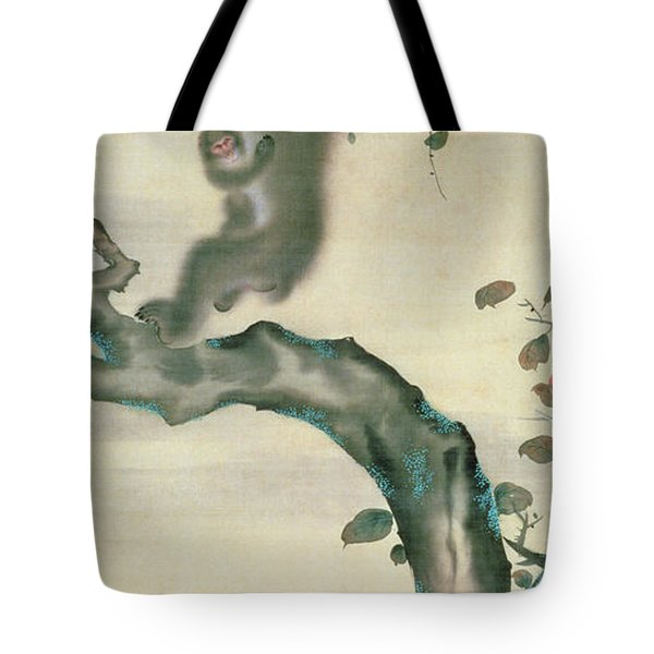 Family Of Monkeys In A Tree Tote Bag by Japanese School