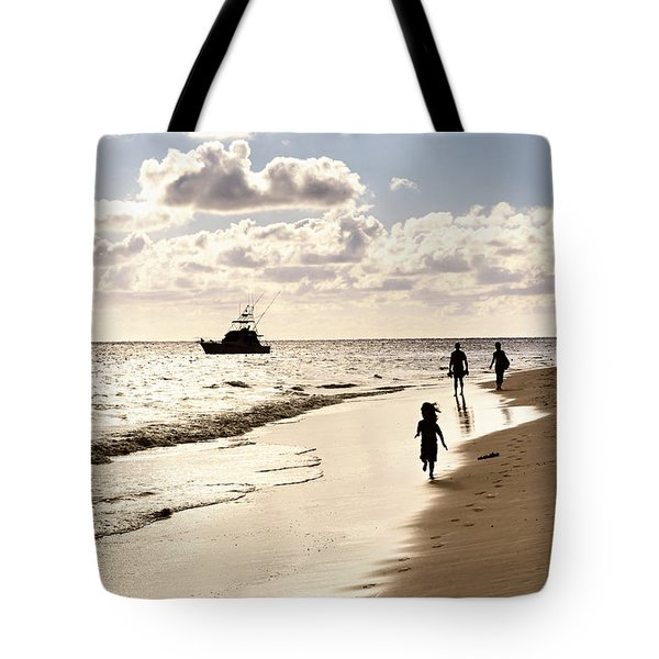 Family On Sunset Beach Tote Bag by Elena Elisseeva