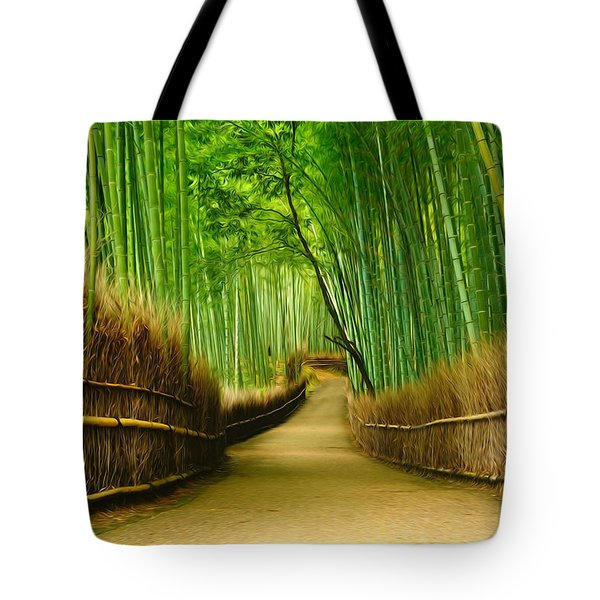 Famous Bamboo Grove At Arashiyama Tote Bag by Lanjee Chee