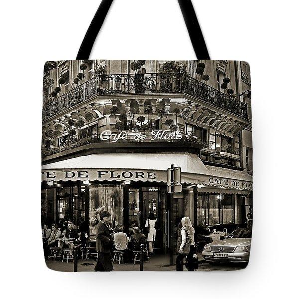 Famous Cafe De Flore - Paris Tote Bag by Carlos Alkmin