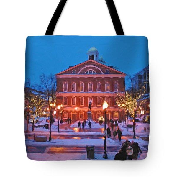 Faneuil Hall Holiday- Boston Tote Bag by Joann Vitali