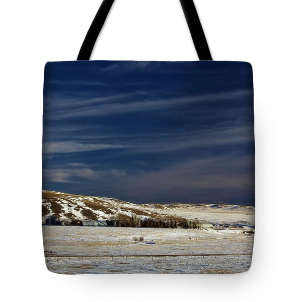 Farm At Bottom Of Hill In Winter Tote Bag by Roberta Murray
