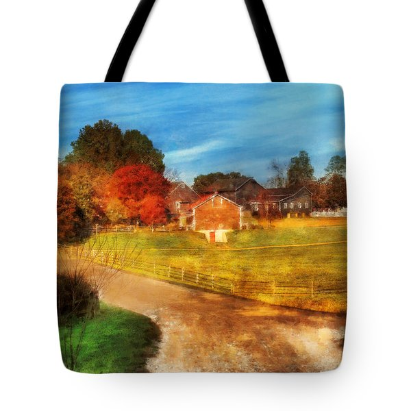 Farm - Barn -  A walk in the country Tote Bag by Mike Savad