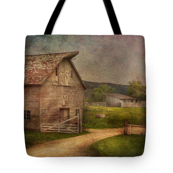 Farm - Barn - The Old Gray Barn Tote Bag by Mike Savad