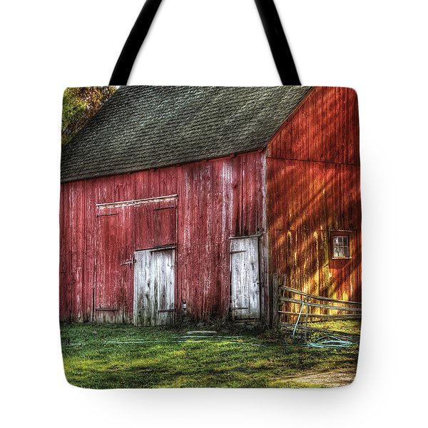 Farm - Barn - The old red barn Tote Bag by Mike Savad