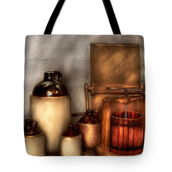 Farm - Bottles - Let's Make Some  Apple Juice Tote Bag by Mike Savad