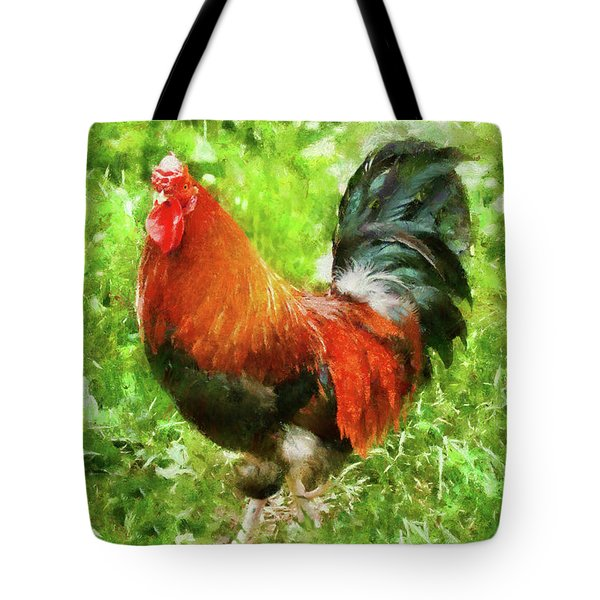 Farm - Chicken - The Rooster Tote Bag by Mike Savad