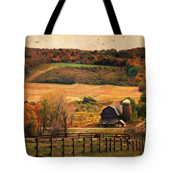 Farm Country Autumn - Sheldon NY Tote Bag by Lianne Schneider