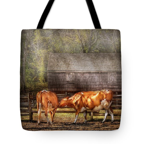 Farm - Cow - A Couple Of Cows Tote Bag by Mike Savad