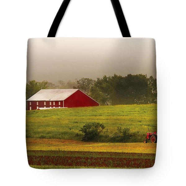 Farm - Farmer - Tilling The Fields Tote Bag by Mike Savad