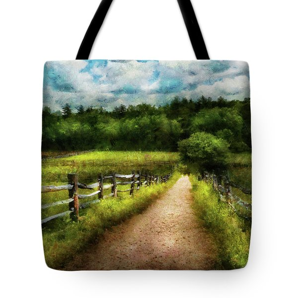 Farm - Fence - Every Journey Starts With A Path  Tote Bag by Mike Savad