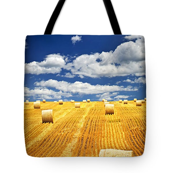 Farm field with hay bales in Saskatchewan Tote Bag by Elena Elisseeva