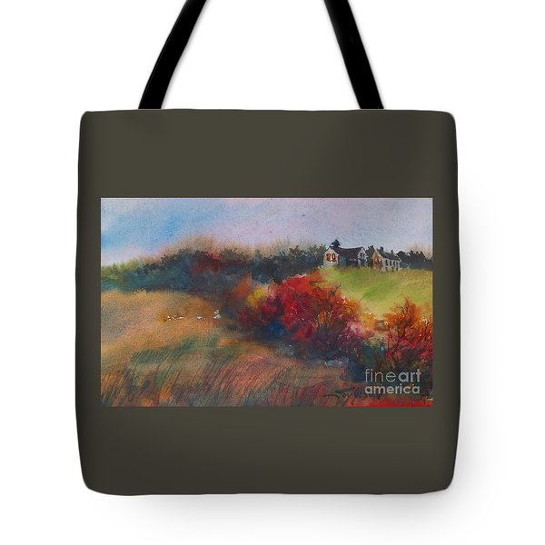 Farm On The Hill At Sunset Tote Bag by Joy Nichols