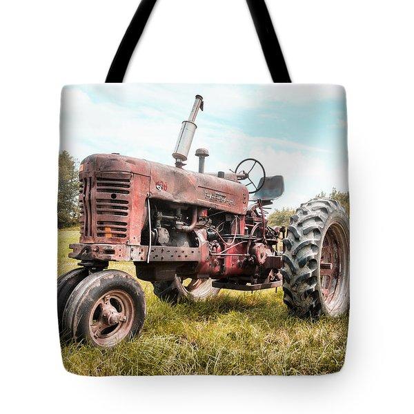 Farmall Tractor Dream - Farm Machinary - Industrial Decor Tote Bag by Gary Heller