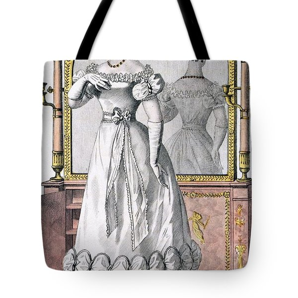 Fashion Plate Of A Lady In Evening Tote Bag by English School