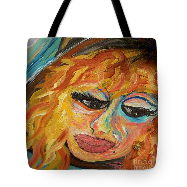 Fashionista - Mysterious Red Head Tote Bag by Eloise Schneider