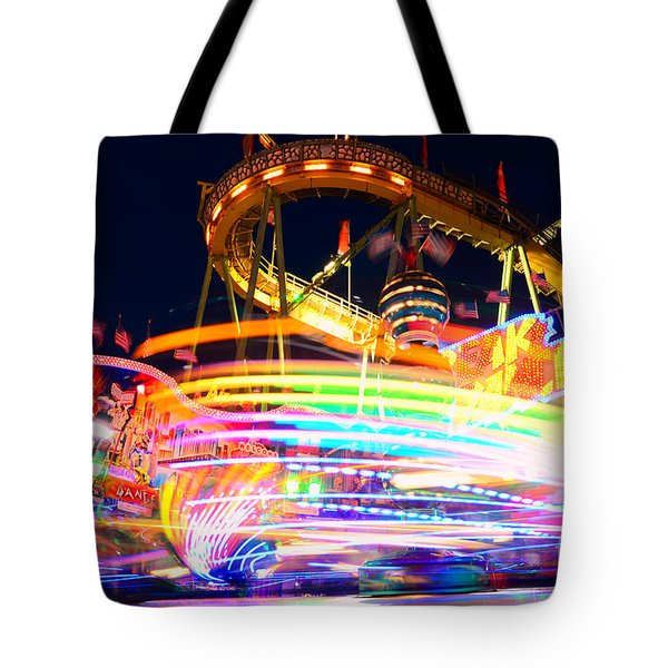 Fast Ride At The Octoberfest In Munich Tote Bag by Sabine Jacobs