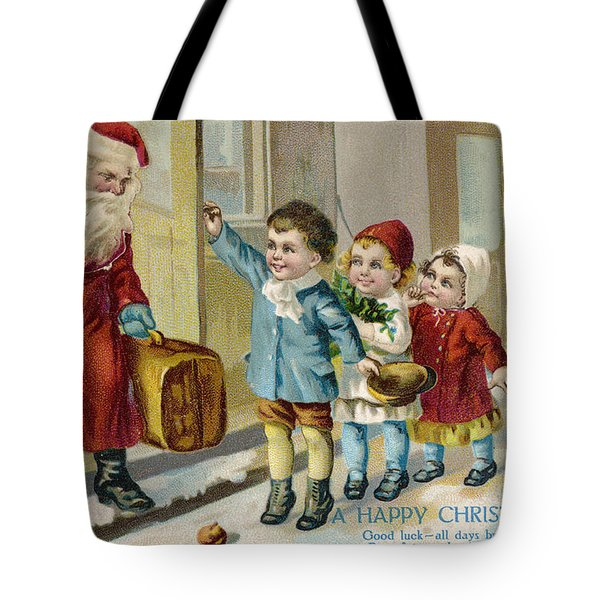 Father Christmas Disembarking Train Tote Bag by Mary Evans