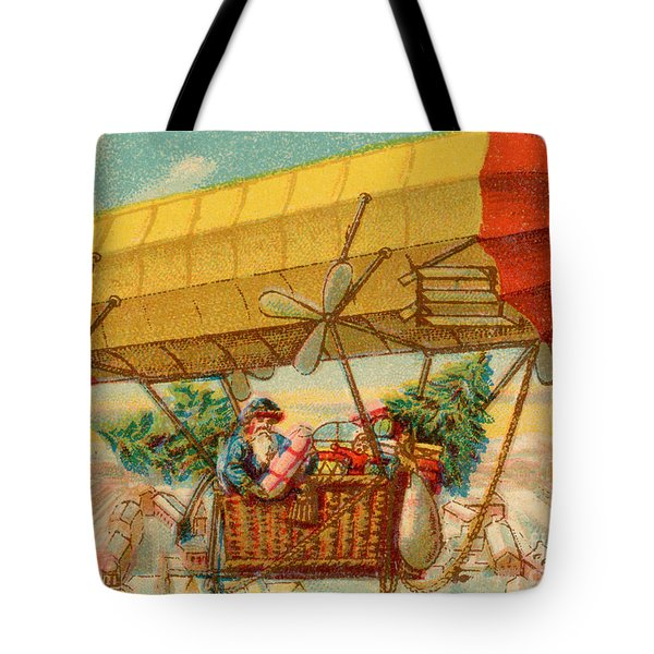 Father Christmas In Airship Tote Bag by Mary Evans
