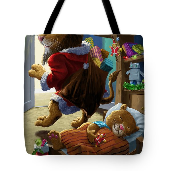Father Christmas lion delivering presents Tote Bag by Martin Davey