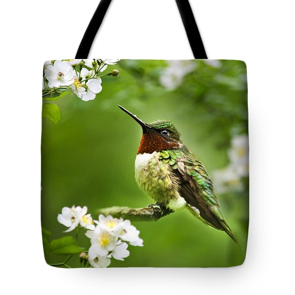 Fauna And Flora - Hummingbird With Flowers Tote Bag by Christina Rollo