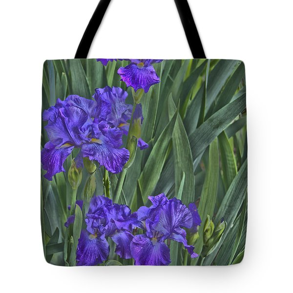 Faux Painted Irises Tote Bag by Penny Lisowski