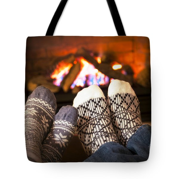 Feet Warming By Fireplace Tote Bag by Elena Elisseeva