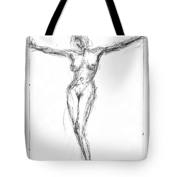 Female Nude In The Pose As Jesus Christ Crucifix  - Pencil Drawing Tote Bag by Nenad Cerovic