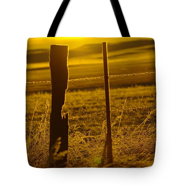 Fence Post In The Morning Light Tote Bag by Jeff Swan
