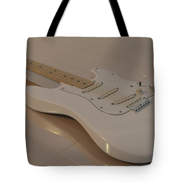 Fender Stratocaster In White Tote Bag by James Barnes