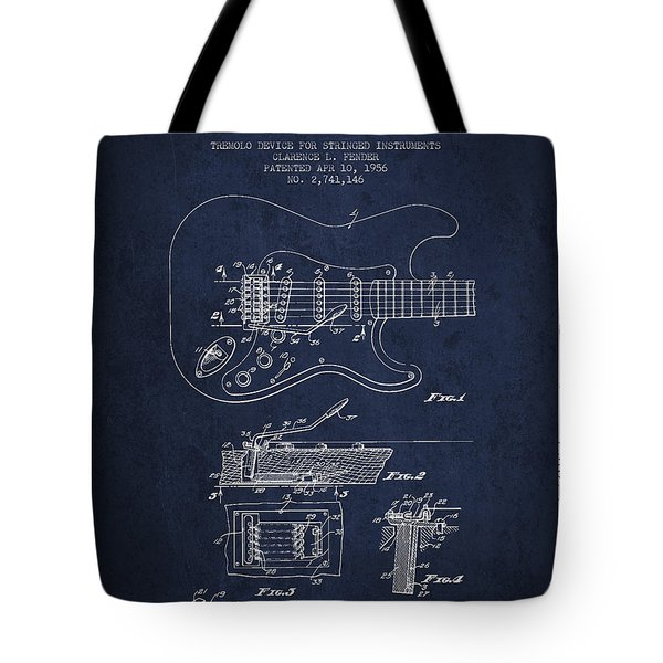 Fender Tremolo Device patent Drawing from 1956 Tote Bag by Aged Pixel