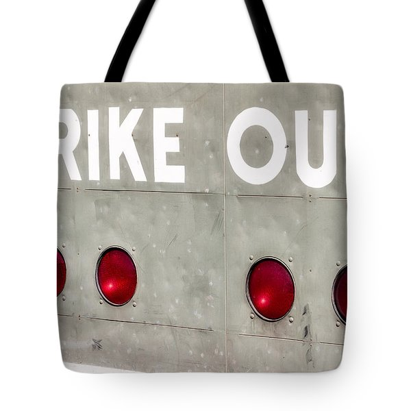Fenway Park Strike - Out Scoreboard  Tote Bag by Susan Candelario