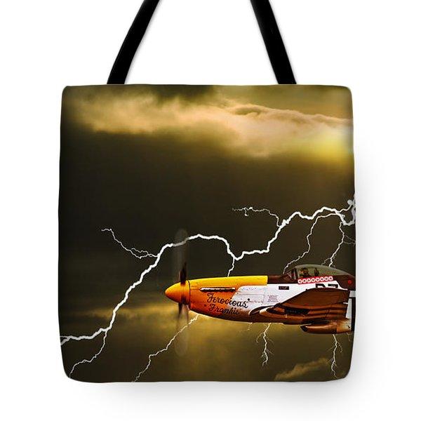 Ferocious Frankie In A Storm Tote Bag by Meirion Matthias