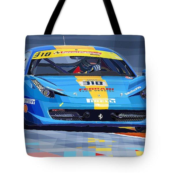 Ferrari 458 Challenge Team Ukraine 2012 Tote Bag by Yuriy  Shevchuk