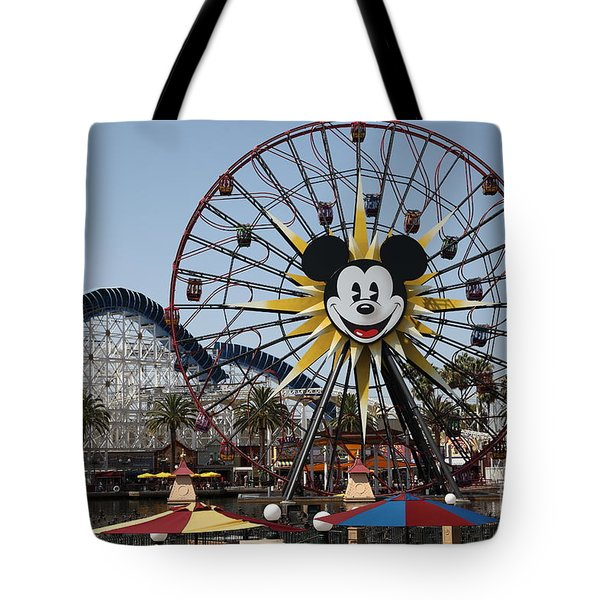 Ferris Wheel And Roller Coaster - Paradise Pier - Disney California Adventure - Anaheim California - Tote Bag by Wingsdomain Art and Photography
