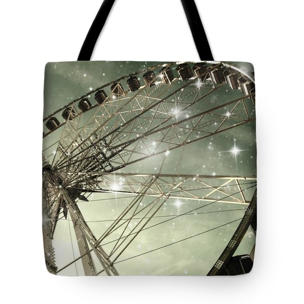 Ferris Wheel At Night In Paris Tote Bag by Marianna Mills