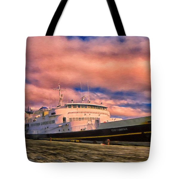 Ferry Dockside At Cold Bay Tote Bag by Michael Pickett