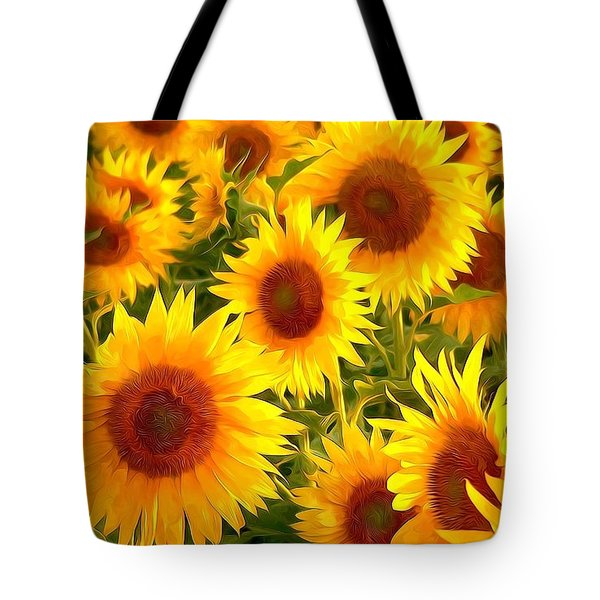 Field Of Sunflowers Tote Bag by Lanjee Chee