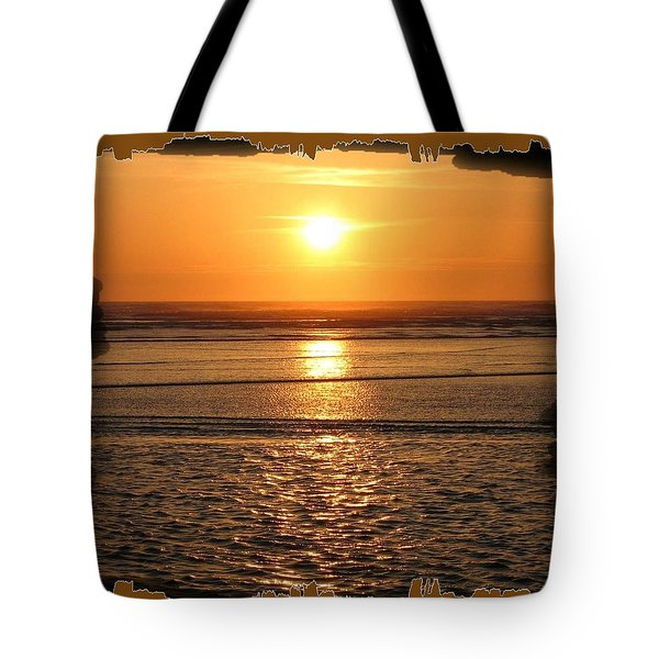Fiery Cannon Beach Sunset Tote Bag by Will Borden