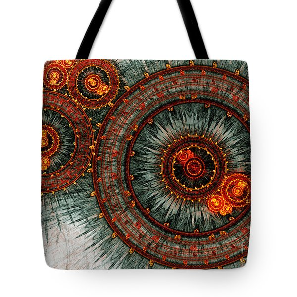 Fiery  clockwork Tote Bag by Martin Capek