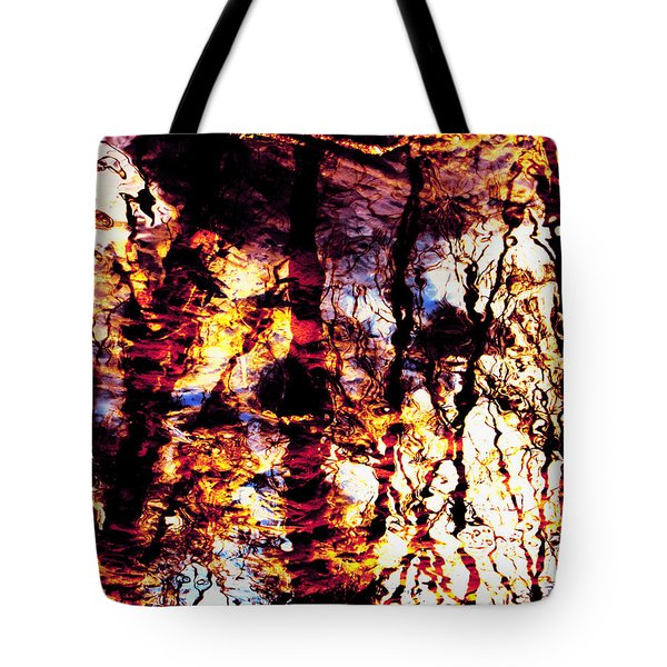 Fiery Reflections Tote Bag by Shawna  Rowe