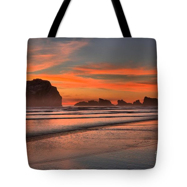 Fiery Ripples In The Surf Tote Bag by Adam Jewell