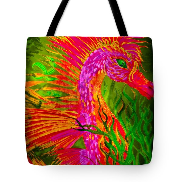 Fiery Sea Horse Tote Bag by Adria Trail